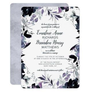 Nocturnal Floral Navy Dusty Blue Border Wedding Invitations