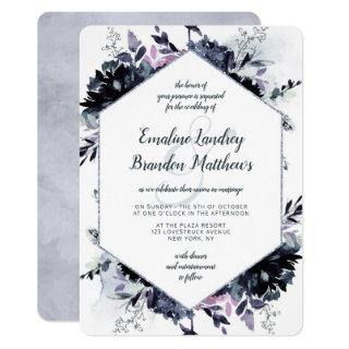 Nocturnal Floral Navy Dusty Blue Hexagon Wedding Invitations