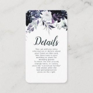 Nocturnal Floral Navy Dusty Blue Wedding Details Enclosure Card