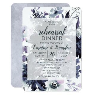 Nocturnal Floral Navy Wedding Rehearsal Dinner Invitations
