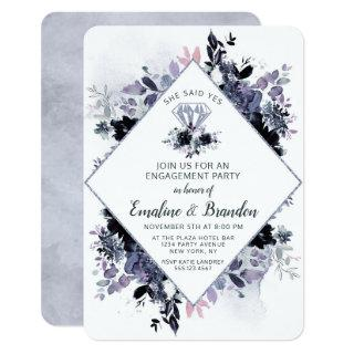Nocturnal Floral She Said Yes Engagement Party Invitation