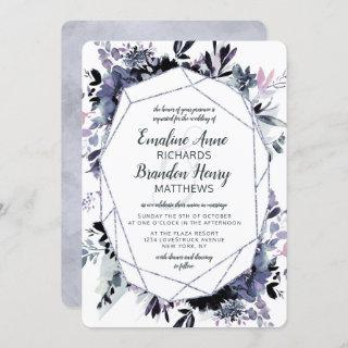 Nocturnal Floral Silver Gem Dusty Blue Wedding Invitation