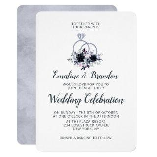 Nocturnal Floral Silver Sparkle Rings Wedding Invitation