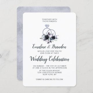 Nocturnal Floral Silver Sparkle Rings Wedding Invitations