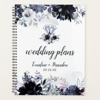 Nocturnal Floral Watercolor Chic Wedding Plans Planner