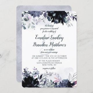 Nocturnal Floral Watercolor Dusty Blue Wedding Invitations