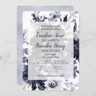 Nocturnal Floral Watercolor Dusty Blue Wedding Invitation