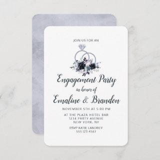 Nocturnal Floral Wedding Rings Engagement Party Invitation