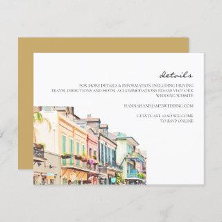 Nola - Watercolor New Orleans Wedding Details Card