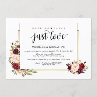 Nothing fancy, Elopement Reception Invitations Card