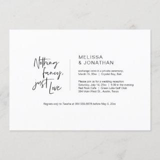 Nothing Fancy, Just Love, Black, Elopement Invitations