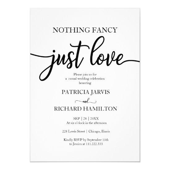 Nothing Fancy Just Love Casual Wedding Invitations