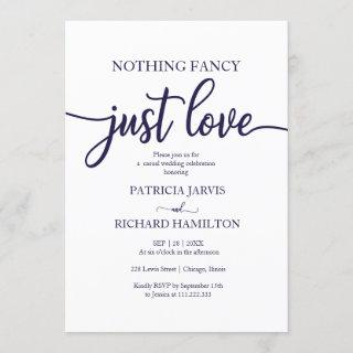 Nothing Fancy Just Love Casual Wedding Navy Blue Invitation