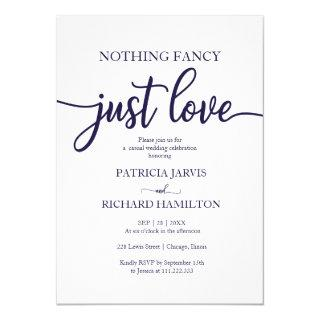 Nothing Fancy Just Love Casual Wedding Navy Blue Invitations