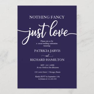 Nothing Fancy Just Love Navy Blue Casual Wedding Invitations