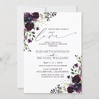 Nothing Fancy Just Love Purple Casual Wedding Invitation
