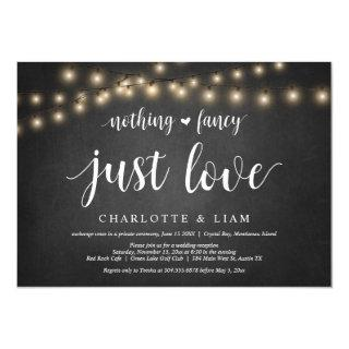Nothing Fancy, Just Love, String Light, Elopement Invitations