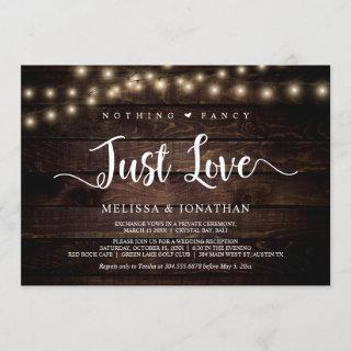 Nothing Fancy, Just Love, String Lights Elopement Invitation