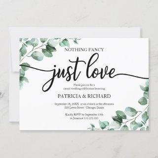 Nothing Fancy Just Love Wedding Reception Greenery Invitations