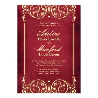 Nouveau Victorian: Vintage Red & Gold Wedding Invitations