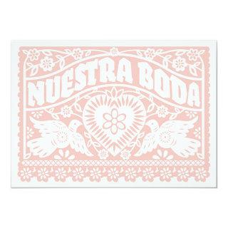 Nuestra Boda Papel Picado Love Birds in Rose Gold Invitations