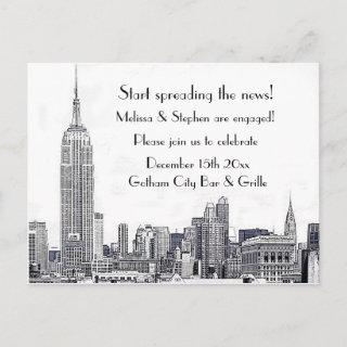 NYC Skyline Etched 01 Engagement Party #2 Invitations Postcard