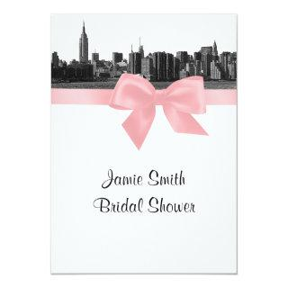 NYC Wide Skyline Etched BW Pink Bridal Shower Invitation