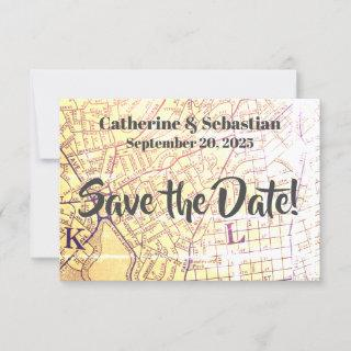Oakland, CA Vintage Map Save The Date
