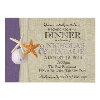 Ocean and Burlap Purple Rehearsal Dinner Invitations
