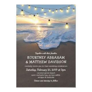 Ocean Beach Seaside String Lights Wedding Invitations
