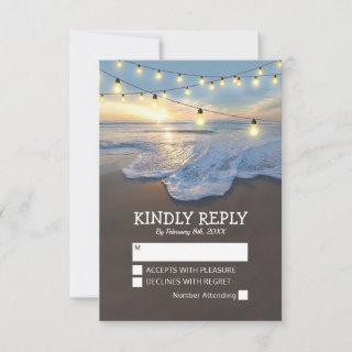Ocean Beach Seaside String Lights Wedding RSVP