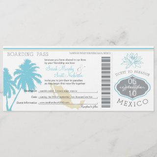 Ocean Blue Palm Tree  Mexico Wedding Boarding Pass Invitation