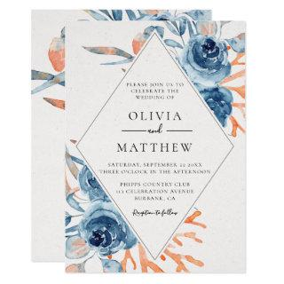 Ocean Blue Rose Coral Destination Wedding Invitations