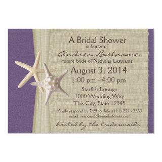 Ocean Starfish Purple Bridal Shower Invitations