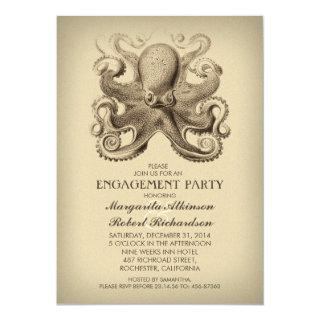 octopus nautical beach engagement party invitation