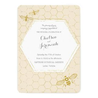 Oh Honey Bee Cream Gold Custom Wedding Invitation
