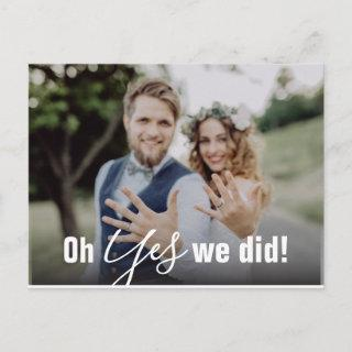 Oh Yes We Did Wedding Announcement