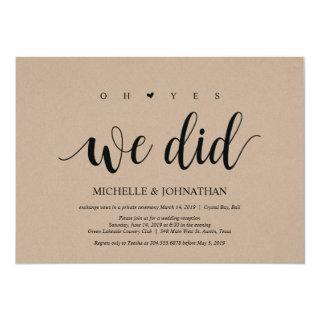 oh yes, we did wedding elopement invitation cards