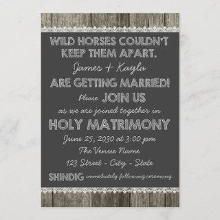 Old Fashioned Rustic Country Chalkboard Wedding