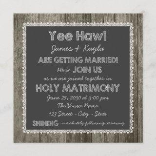 Old Fashioned Rustic Country Chalkboard Wedding Invitations