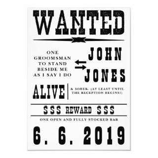 Old Fashioned Wanted Groomsman Card Invitation