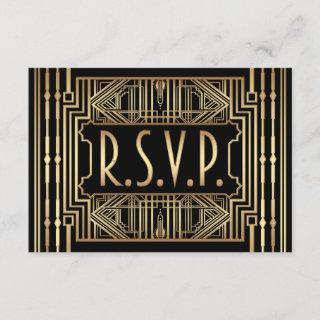 Old Hollywood Gatsby Style Wedding RSVP