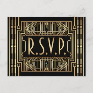 Old Hollywood Great Gatsby Style Wedding RSVP Invitations Postcard