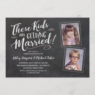 Old Kids Photos Engagement Party Hand Lettering In Invitation