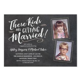 Old Kids Photos Engagement Party Hand Lettering In Invitations
