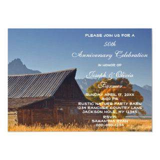 Old Mountain Country Barn Wedding Anniversary Invitations