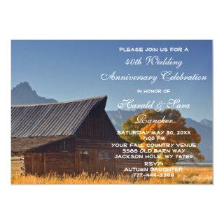 Old Mountain Fall Country Barn Wedding Anniversary Magnetic Invitations