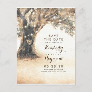 Old Oak Tree and Carved Heart Save the Date Announcement Postcard