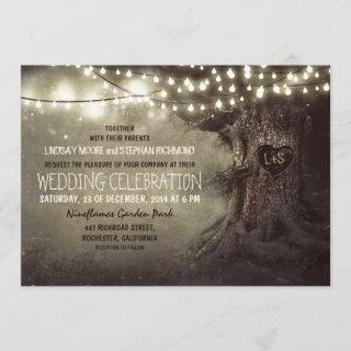Old Oak Tree and Wood Heart Rustic Country Invitation