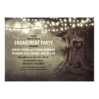 old oak tree twinkle lights engagement party Invitations